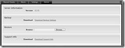 Admin Server Information, Backup and Restore