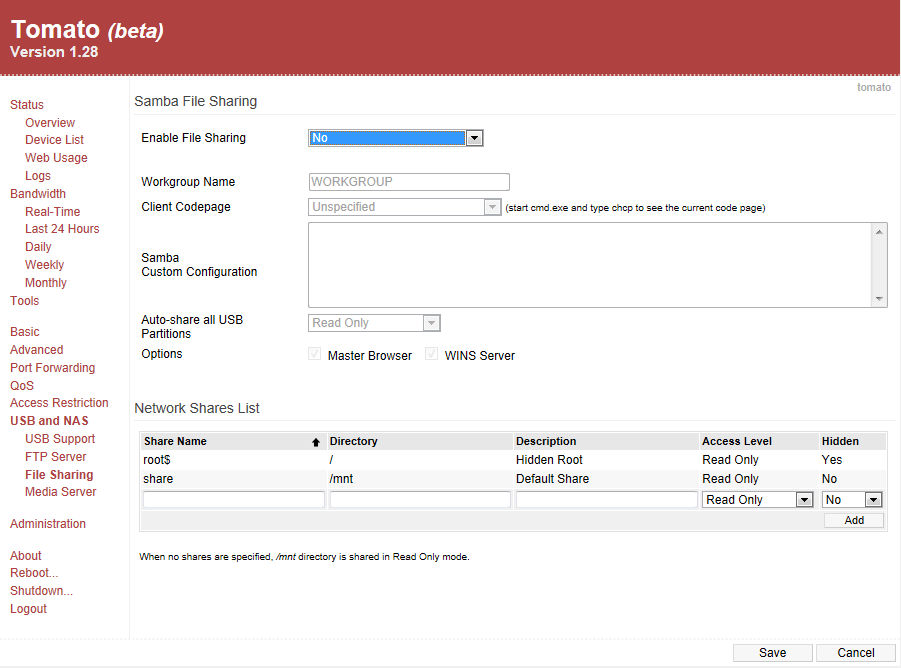Tomato Firmware on the Asus RT-N16 Router – Part 6, Access
