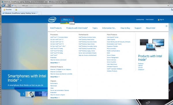 Intel – Home Page Menu