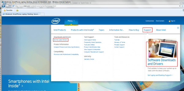 Intel – Support Menu