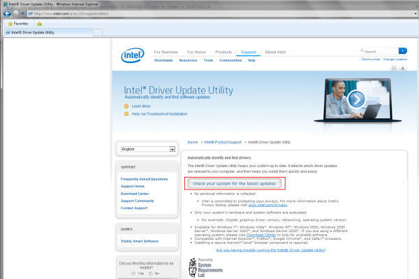 Intel - Driver Update Utility